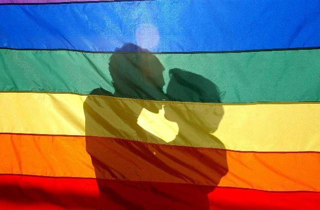 Sombra de pareja homosexual sobre bandera gay, para representar a hijos homosexuales