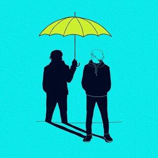 Caricatura de un hombre que su sombra le protege con un paraguas, representando la autoayuda